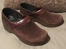 DANSKO Professional Brown Suede Leather Clogs Shoes Size 38, US 7.5-8