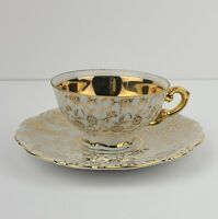 Vintage Mitterteich Bavaria Footed Tea cup and Saucer Gold floral & vines #2514