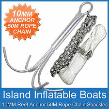 10MM REEF ANCHOR ✱ BOAT ANCHORING KIT ✱ 4M Gal Chain 50M x 6mm Rope FREE POSTAGE