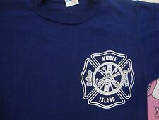 VTG Middle Island New York Fire department Champion blue Bar tag t shirt Youth L