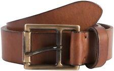"""Fabio Giovanni Gemini Italian Calf Leather Jeans Belt Antique Brass Buckle 38""""40"""