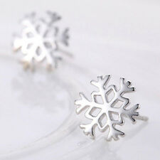 Cute Women Girl Fashion 925 Sterling Silver Holy Snowflake Stud Earrings Jewelry