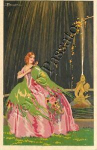 Dama con vestito rosa in giardino con fontana - 1926 / illustratore Busi