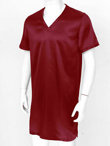 US Men Satin Night Shirt Side Split Nightgown V-Neck Short Sleeve Silky Sleep