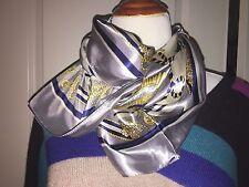 New Women Big Square Silk like Satin Large Scarf Wrap Shawl Gray Silver Tassel