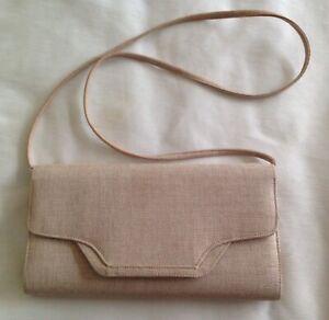 Jacques Vert Beige Nude Linen effect Clutch Bag detachable strap
