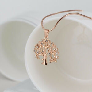 Hot Rose Gold Tree Of Life Crystal Cz Cubic Zircon Ia Pendant Necklace Jewelry