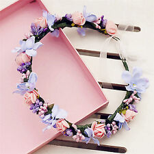 new Women Girl flower Fairy wedding Bride Party Hair Headband Crown Prop Garland