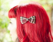 Burgundy Tartan Retro 50's Rockabilly hair Bow Clip