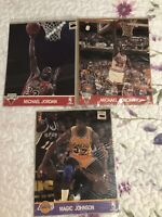 3 NBA Hoops Action Photos Michael Jordan/Magic Johnson Sealed