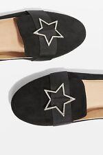 Topshop STAR Embellished Pumps Shoes - Black - UK 4/EU 37/US 6.5 - RRP £26 - New