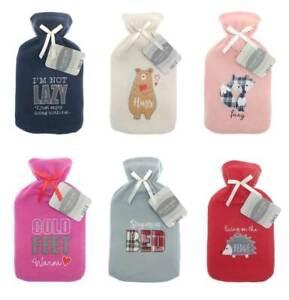 Hot Water Bottle warm  Cosy  fleecy fur Cover 2 Ltre Xmas Gift Idea