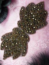 "JB67 Beaded Applique Bronze Designer Glass 5.5"" Hot Fix Iron on Sewing Crafts :)"