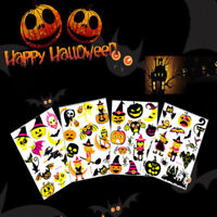 1Sheet Halloween Temporary Tattoo Sticker Luminous Pumpkin Spider Skull Body Arm