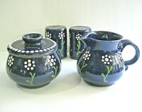 VTG Stoneware Cream Sugar Salt Pepper Salt Glazed Crock Pottery COBALT BLUE