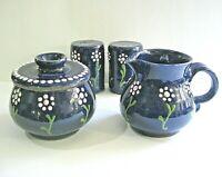Stoneware Cream Sugar Salt Pepper Salt Glazed Crock Art Pottery COBALT BLUE