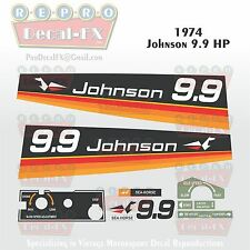 1974 Johnson 9.9 HP Outboard Reproduction 11 Piece Vinyl Decal Horse Power