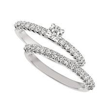 1.00 Carat Natural Round Cut Diamond Ring Set G SI 14K White Gold