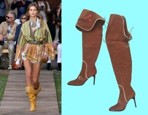 $1755!  DSQUARED2 PIRATE SUEDE DUO BOOTS!~FOLD OR OVER KNEE- 9 1/2-10