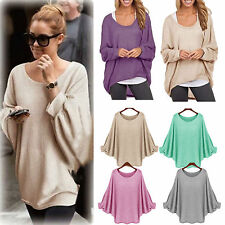 Womens OVERSIZE Long Sleeve Pullover Waterfall Baggy Tops Jumper Casual Blouse
