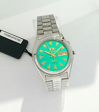 ORIENT 3 Star Automatic Watch Mens SILVER tone Green Dial FEM6Q00EN9 New