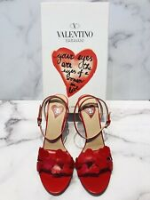 Valentino L'Amour Red Leather Heart Ankle Strap Sandals Heels