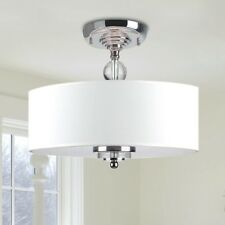 Chandelier Ceiling Pendant Light Flush Mount Crystal Fixture Off White Shade New