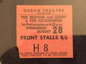 BEATLES TICKET STUB – AUGUST 1963 SOUTHPORT, ENGLAND UK CONCERT – SCARCE!