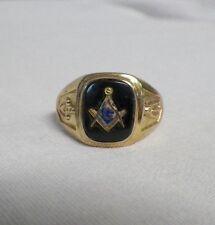 10K Yellow Gold Masonic Ring Mason Compass Size 11-1/2 Black