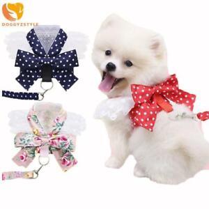 Cute Small Pet Dog Harness Leash Bow Lace Rose Dots Puppy Cat Vest Pet Costumes