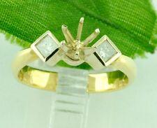 0.28 ct 14k Yellow Gold Ladies Semi Mount Diamond Ring  4.1 Grams  Princess Cut