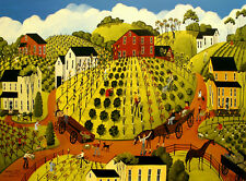 The green life garden community Folk Art Criswell ACEO Giclee print of painting