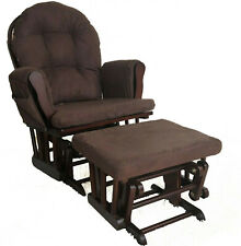 Brown Maternity Nursing Glider Rocking Chair Gliding With Stool Wood Frame