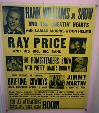 RARE BUDDY LEE ATTRACTIONS NASHVILLE 22x28 POSTER 1967 * HANK JR * MERLE KILGORE