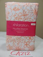 NEW XHILARATION MICROFIBER TWIN SHEET SET CORAL FLORAL DESIGN WHITE & PEACH