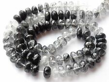 "HAND FACETED TOURMALINATED QUARTZ RONDELLES, approx 8mm, 16.5"", 90 beads"