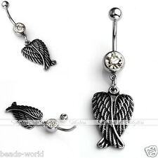 Gothic Retro Black Angel Wings Crystal CZ Piercing Steel Navel Belly Button Ring