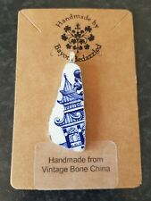 "Handmade ""Blue Willow"" Design Pendant & 925 Sterling Silver Plated Chain."