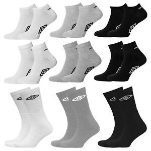 3 6 Pairs Umbro Mens Official Trainer Quarter Sports Socks Black White Assorted