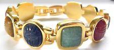 Fashion Jewelry*KJL Gemstone*Scarab Bracelet*Linked*Beautiful Stones*Signed