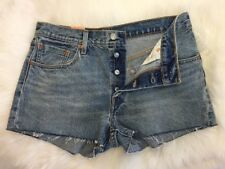Levis 501 Straight Leg Button Fly Shorts Size 30 Women's Distressed NWT