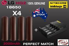 4 x 100% Genuine LG HG2 18650 Plus Nitecore i4 Intelli Charger