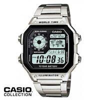 Reloj Digital CASIO AE-1200WHD-1A - Hora Mundial - 5 Alarmas - Temporizadores