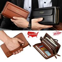 Men Leather Zipper Wallet Phone Business Bag Card Holder Clutch Handbag Purse !