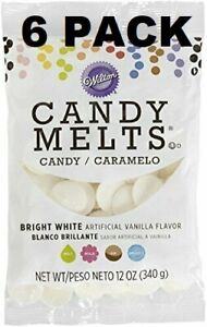 6Wilton Candy Melts Vanilla Flavored 12oz ea Bright White Candy Making Cake Pops