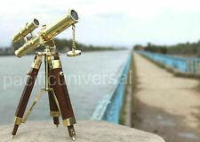 antique brass mini Double barrel 10'' telescope wooden tripod new handmade style