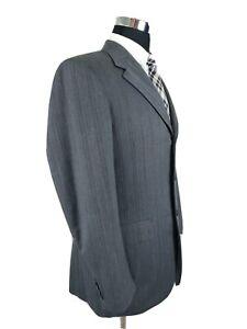 Prada Milano Gray Wool 3 Button Mens Suit Brown Pinstripe Herringbone 42L 36x30