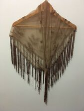 pre-loved brown tulle with tassels embroidered floral scarf wrap