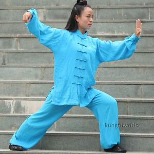 Women's Linen Tai chi Suit Kung fu Martial arts Uniform Morning Training Clothes