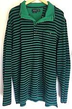 Nautica Mens Knit Rugby Shirt Sweater Slim Fit 2XL XXL Green Blue Long Sleeve